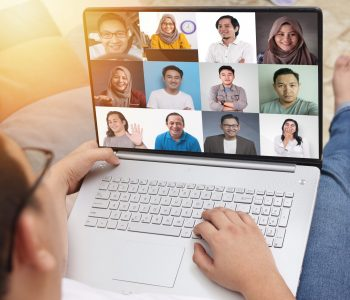 Teleconference during work from home due to coronavirus covid pandemic. Webcam pc screen views during group video call shows people participated in online meeting, new normal